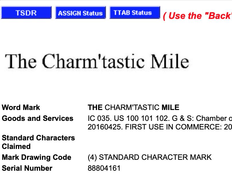 Charm'tastic Mile Trademark